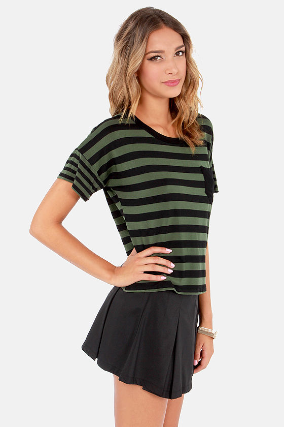 Sweet Tee Black and Green Striped Tee at Lulus.com!