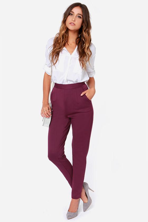 24077c8bc7f440 Burgundy Pants - Purple Trousers - High Waisted Pants -  38.00