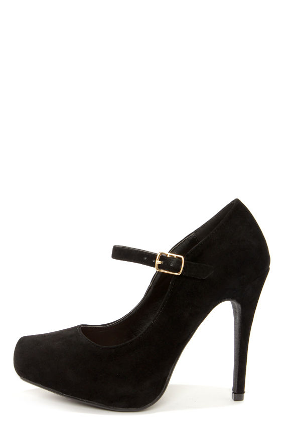 Cute Black Heels - Ankle Strap Heels - Platform Pumps - $29.00