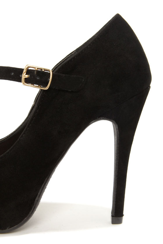 My Delicious Beta Black Suede Ankle Strap Platform Pumps at Lulus.com!