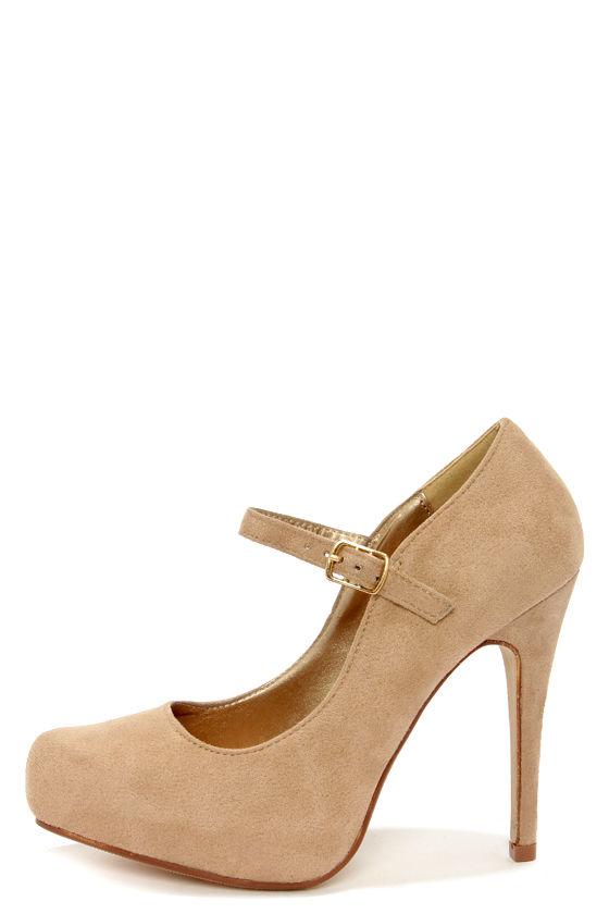 Cute Beige Heels - Ankle Strap Heels - Platform Pumps - $29.00