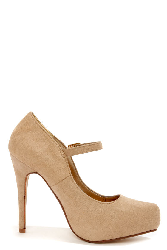 Cute beige heels ankle strap heels platform pumps for Mineral wool pipe insulation weight per foot