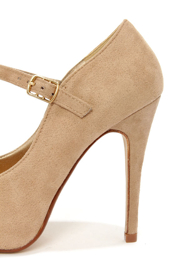 My Delicious Beta Light Taupe Suede Ankle Strap Platform Pumps at Lulus.com!