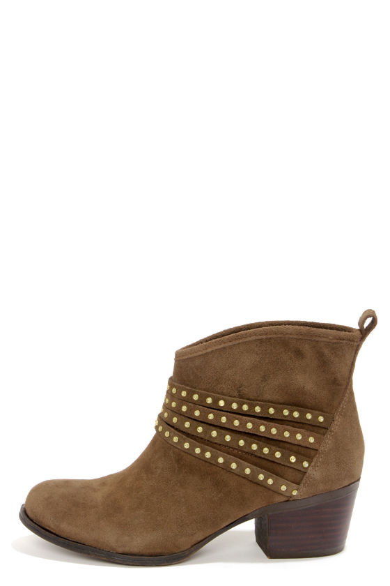 Jessica Simpson Clauds Mink Split Suede Studded Ankle Boots at Lulus.com!