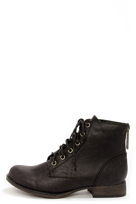 Cute Black Boots - Lace-Up Boots