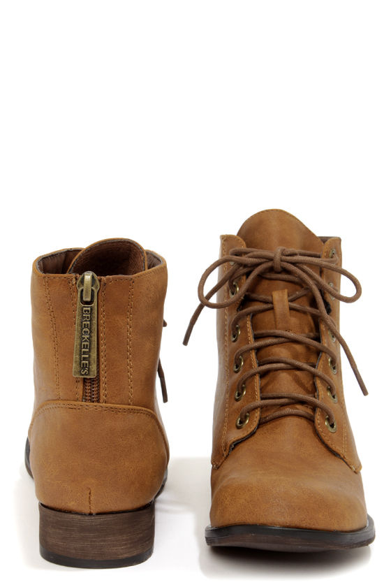 Cute Tan Boots - Lace-Up Boots - Ankle