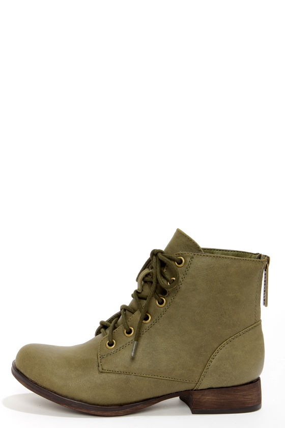 Cute Green Boots - Lace-Up Boots