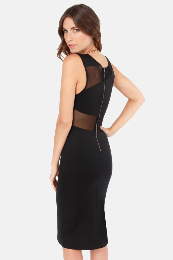 Meshed Friends Forever Black Bodycon Midi Dress at Lulus.com!