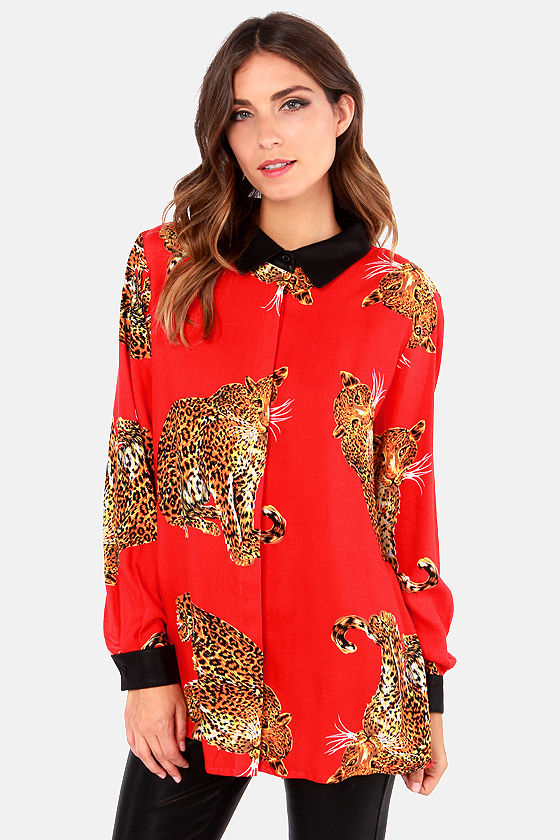 cc558b72e5 Animal Print Top - Leopard Blouse - Red Top - Long Sleeve Top -  71.00