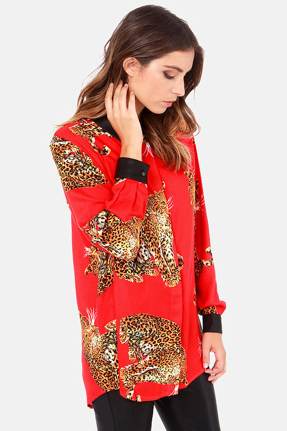 Mink Pink King of the Jungle Red Animal Print Top at Lulus.com!
