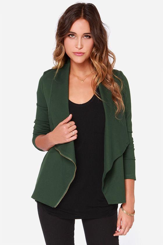 Forest Green Jacket - Wrap Jacket - Zipper Jacket - $91.00