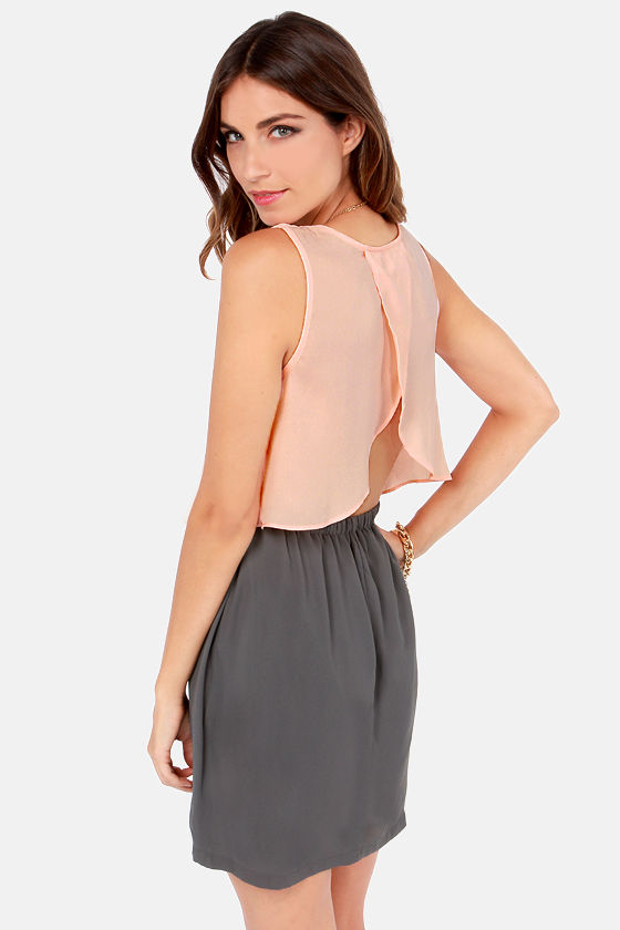Costa Blanca It Takes Tulip to Tango Grey and Peach Dress at Lulus.com!