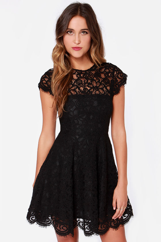 BB Dakota Rylin Dress - Black Dress - Lace Dress - $103.00