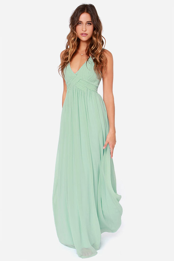 Maxi Dress - Backless Dress - Mint Green Dress - Sage Green Dress ...