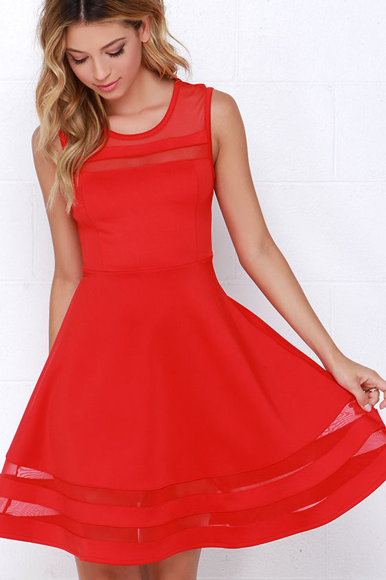 Cute Red Dress - Skater Dress - Cutout Dress - $44.00