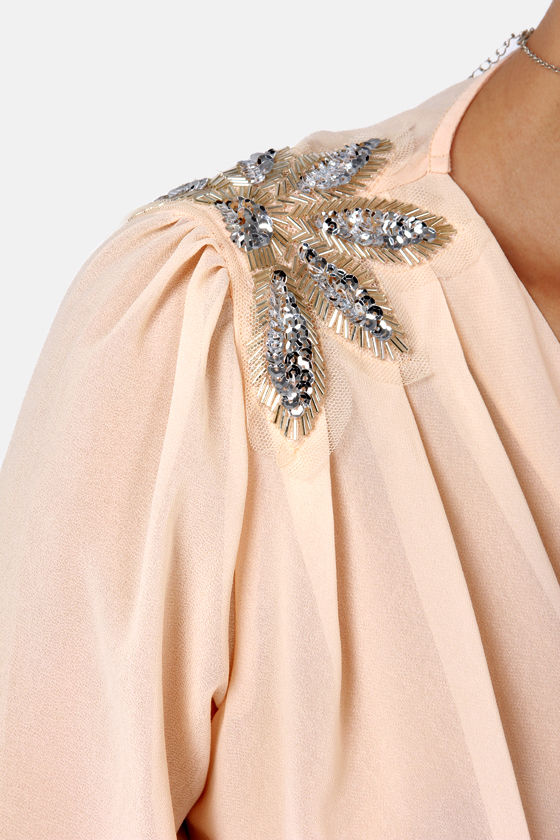 My Beading Heart Sheer Beaded Peach Top at Lulus.com!