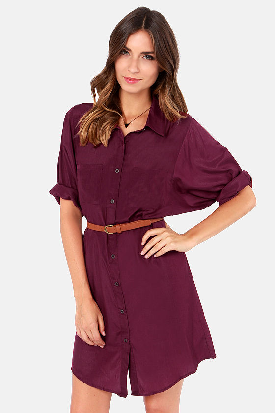 Cute Burgundy Dress Shirt Dress Belted Dress 40 00