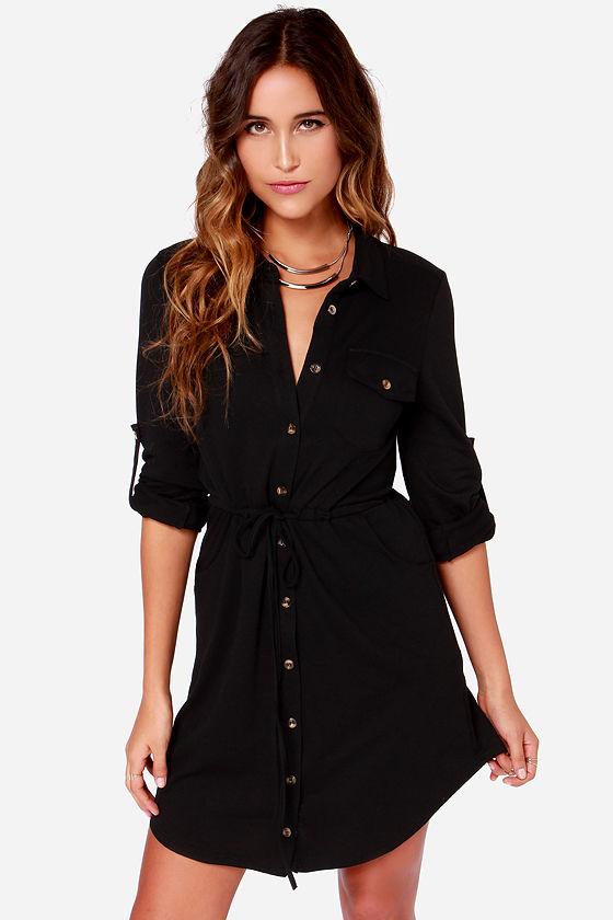 8dc8ac0d848 Little Black Dress - LBD - Long Sleeve Dress - Shirt Dress -  44.00