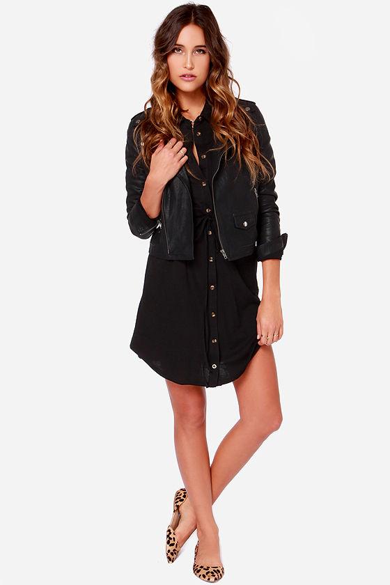 Little Black Dress - LBD - Long Sleeve Dress - Shirt Dress - $44.00