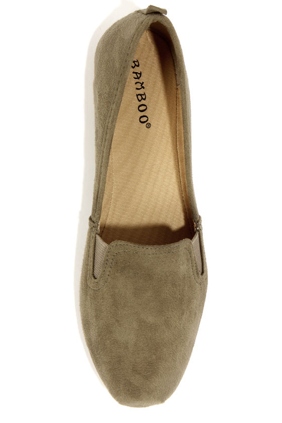 Bamboo Rosalba 01Y Khaki Suede Loafer Flats at Lulus.com!