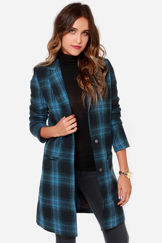 Plaid Coat Blue Coat Flannel Coat Overcoat