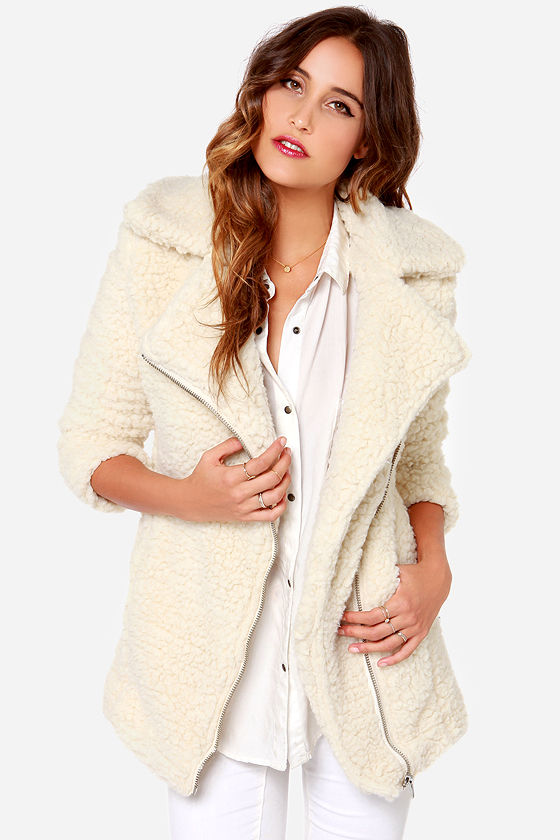 Cute Cream Coat - Shearling Coat - Oversized Coat - Sherpa Coat