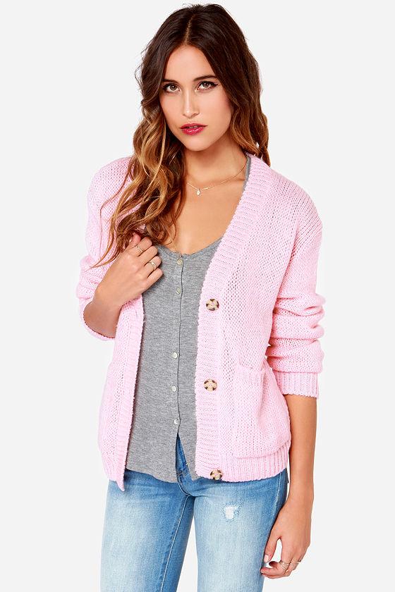 Pink Sweater - Cardigan Sweater - $49.00