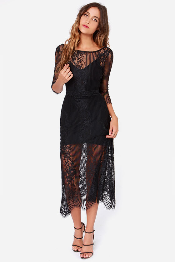 2dac82e2867 For Love   Lemons San Marcos - Black Dress - Maxi Dress - Lace Dress ...