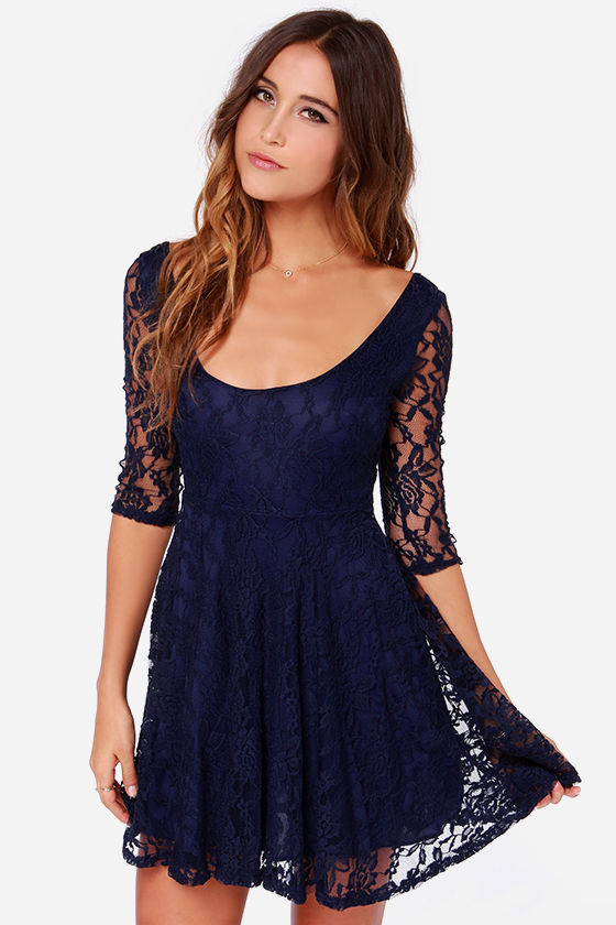 Lace Dress - Navy Blue Dress - Skater Dress - $44.00