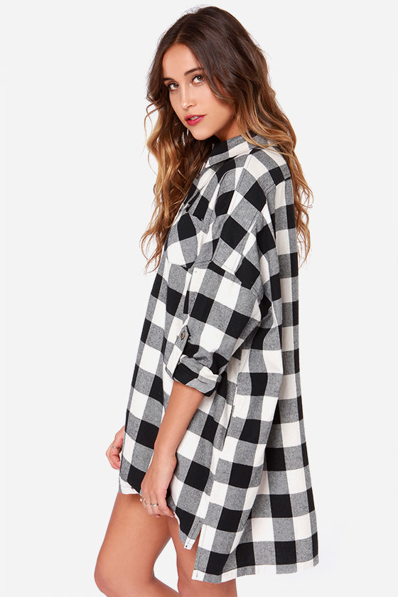 Plaid Dress - Oversized Dress - Shirt Dress - $65.00