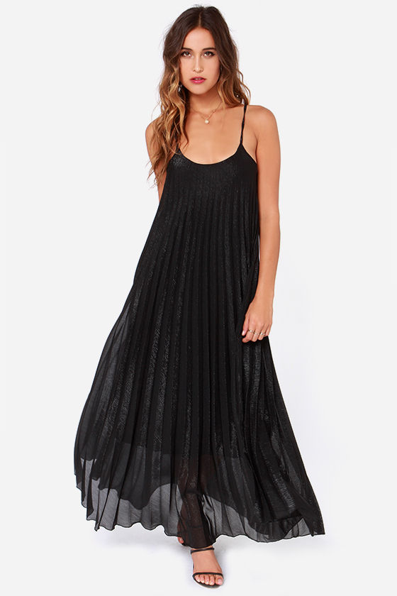 I. Madeline Might be Magic Shimmery Black Maxi Dress