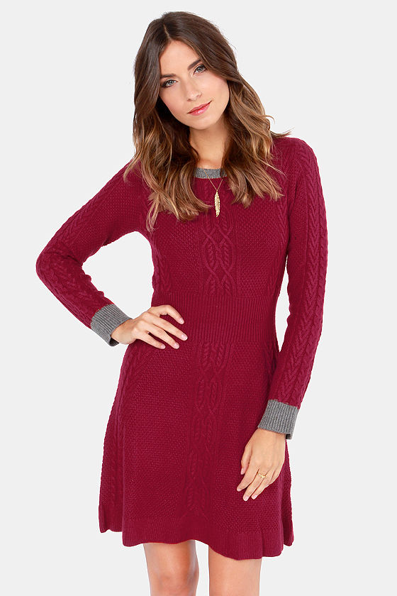 Cute Red Dress - Sweater Dress - A-Line Dress - $75.00