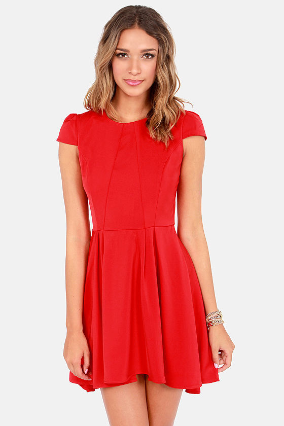 Cute Skater Dress - Red Dress - High-Low Dress - Fit and Flare ...
