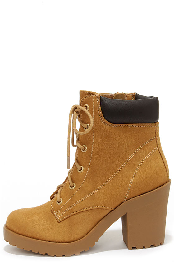 Cute Tan Boots - High Heel Work Boots - Ankle Boots - $36.00