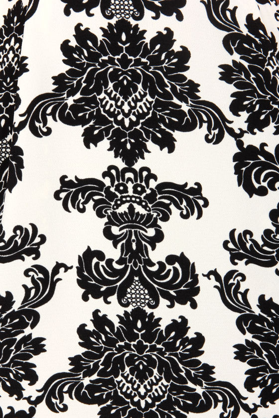 Pattern Cake Black and Ivory Damask Print Dress at Lulus.com!