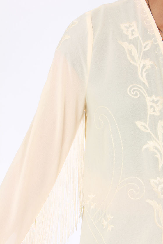 Bardot's Boudoir Embroidered Cream Kimono Top at Lulus.com!