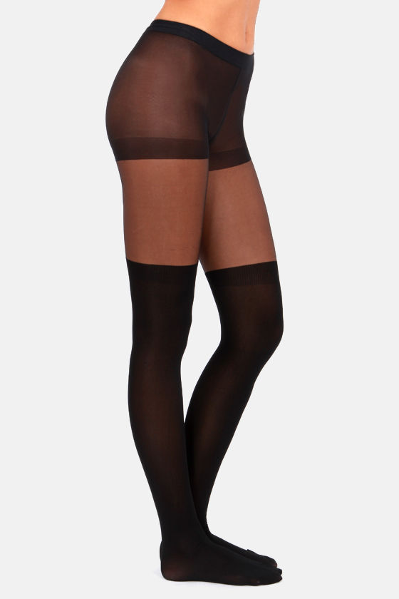 Tabbisocks Our Little Secret Over the Knee Black Tights at Lulus.com!