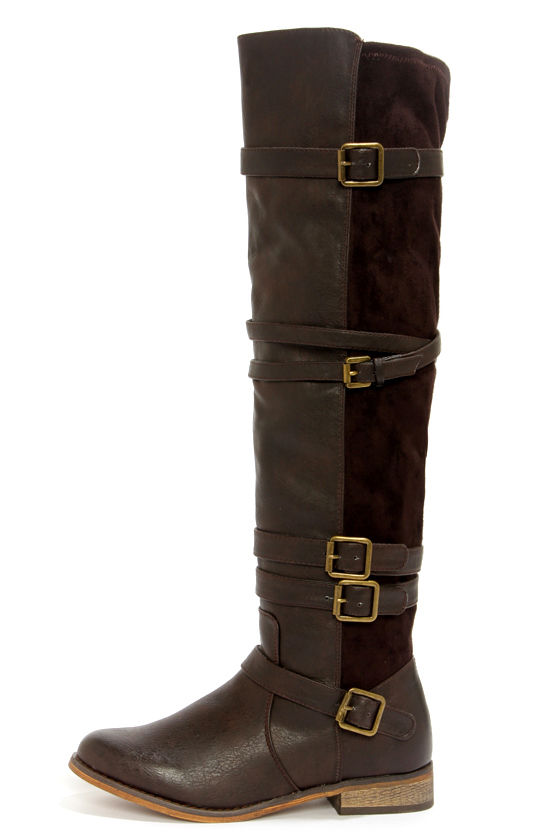 Wanted Bayon Brown Buckled Over the Knee Riding Boots