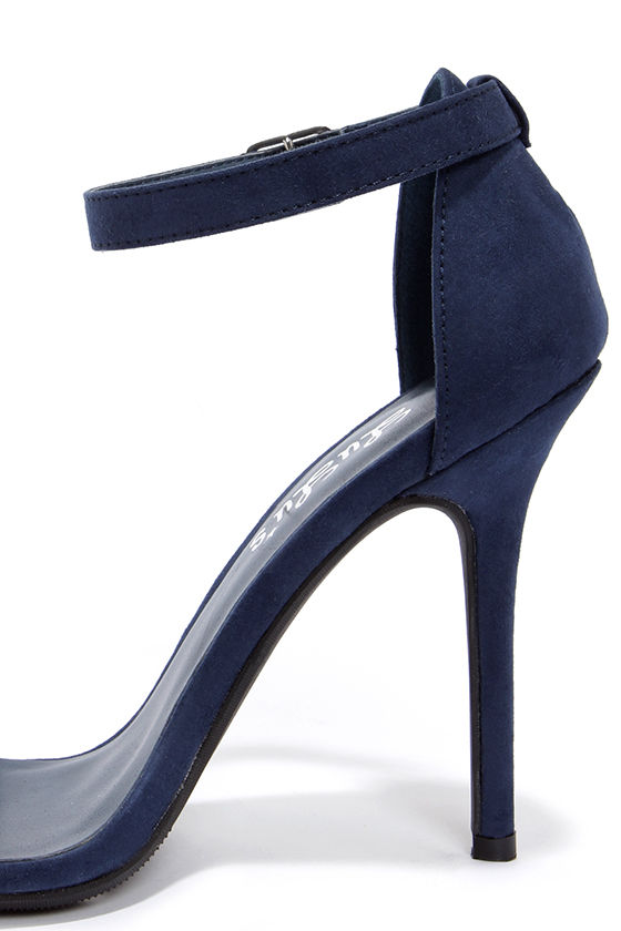 Sexy Single Strap Heels - Ankle Strap Heels - Navy Blue Heels - $22.00