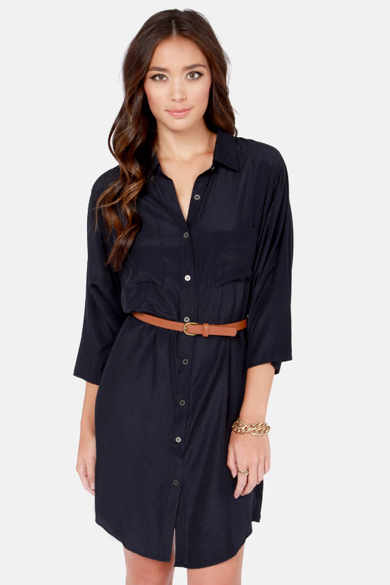 Top Drawer Belted Navy Blue Shirt Dress at Lulus.com!