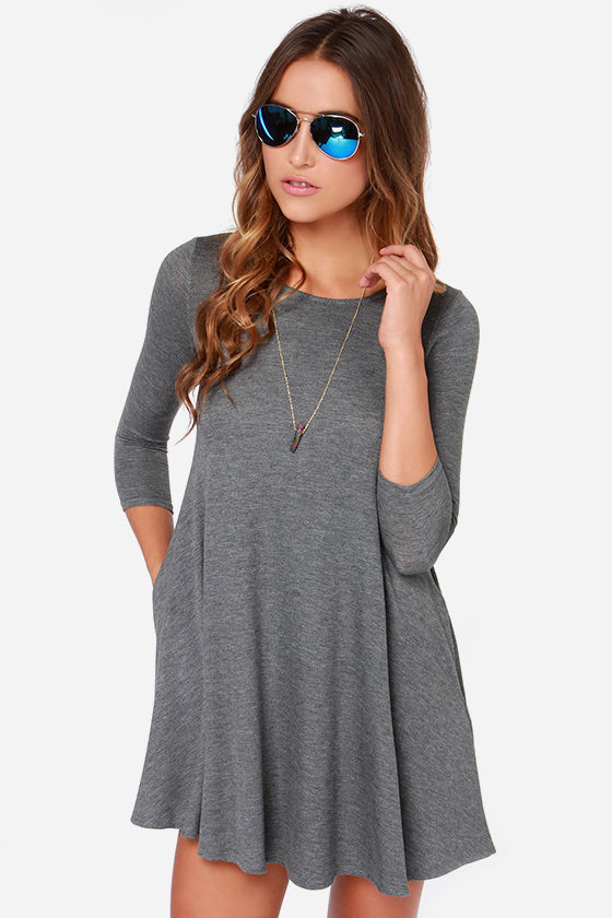 3954eade5e5d Chic Grey Dress - Swing Dress - Three Quarter Sleeve Dress -  44.00