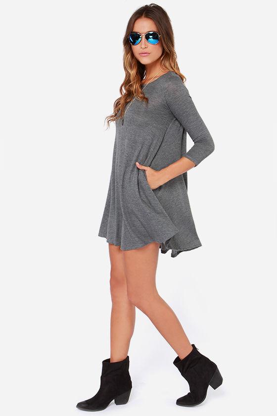 f0c4a5aa9003 Chic Grey Dress - Swing Dress - Three Quarter Sleeve Dress -  44.00