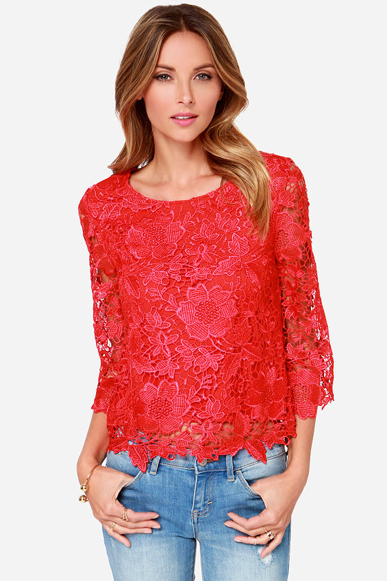 Pretty Red Top Long Sleeve Top Lace Top 32 00