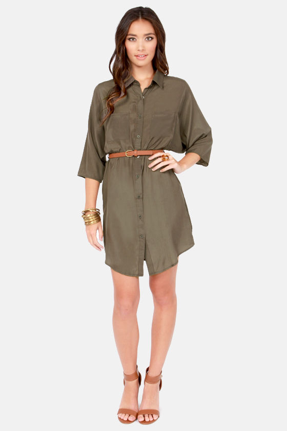 Top Drawer Belted Sable Brown Shirt Dress at Lulus.com!