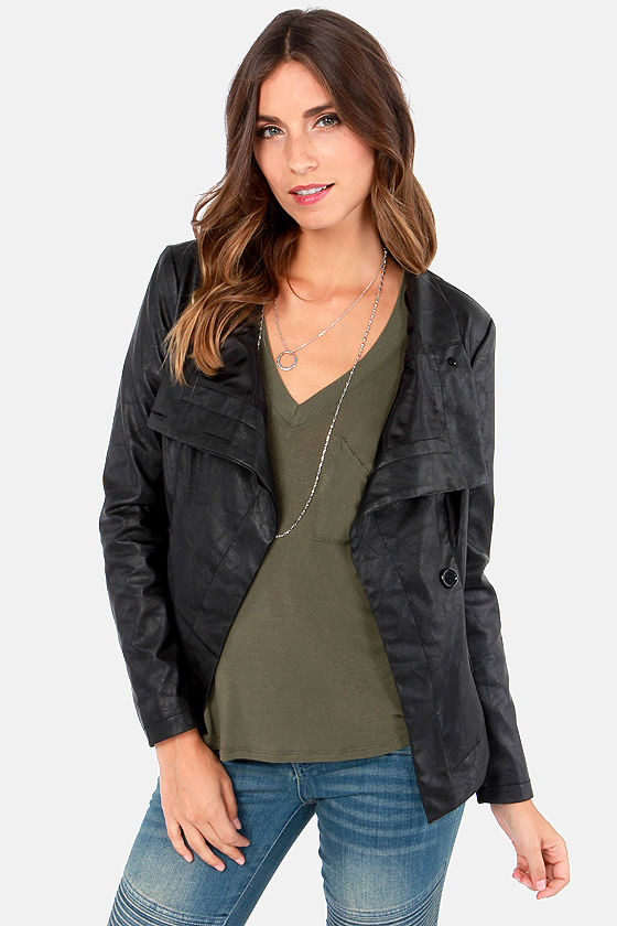 Playing with Fire Black Vegan Leather Jacket