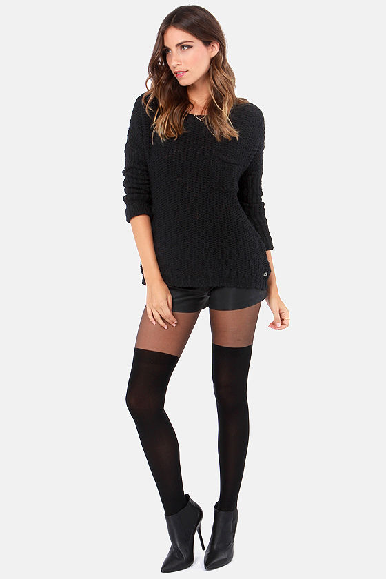 Roxy Good Day Sunshine Black Sweater at Lulus.com!
