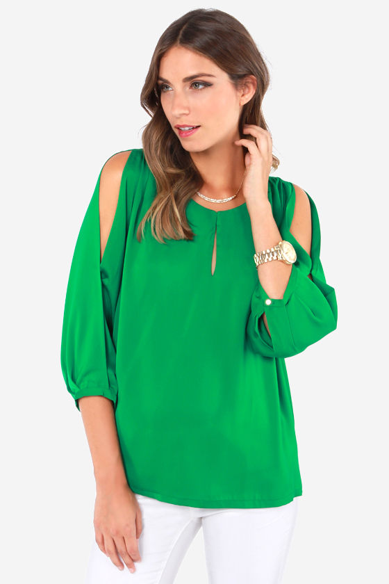 504296f7a Cute Green Top - Cold Shoulder Top - Green Blouse - $45.00