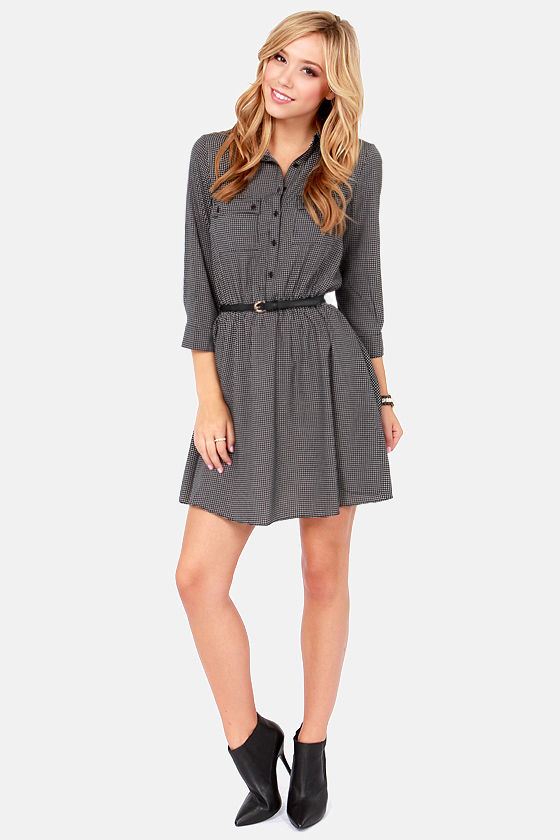 Rain Check Belted White and Black Print Dress at Lulus.com!
