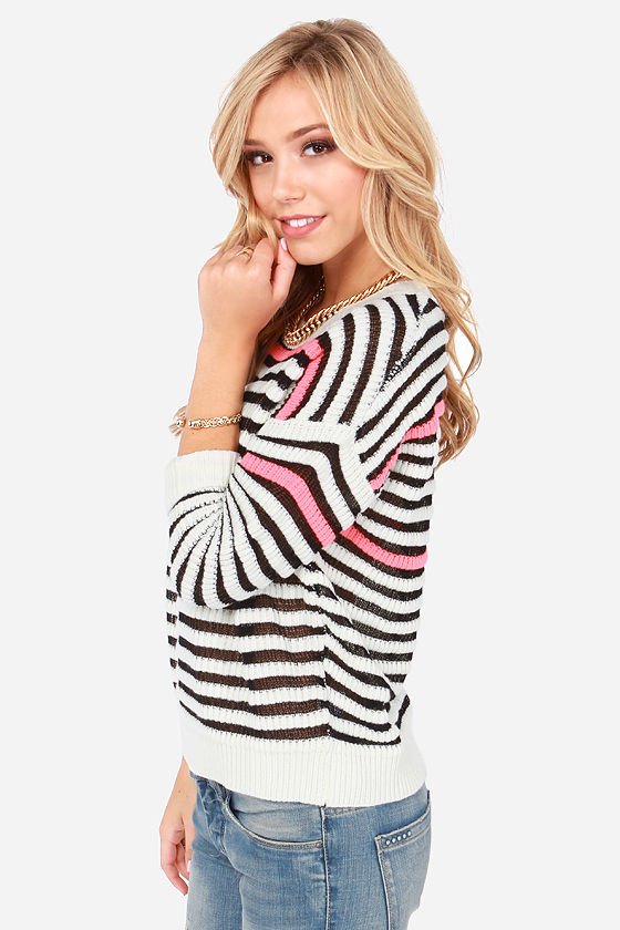 Neons Ago Ivory Striped Sweater at Lulus.com!