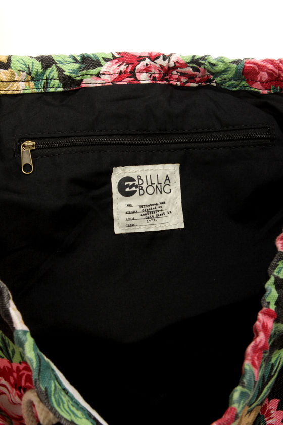 Billabong Sea You Soon Black Floral Print Backpack at Lulus.com!
